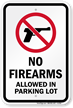 No Firearms Allowed In Parking Lot Sign