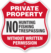 No Fishing Trespassing Without Permission Shield Sign