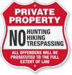 No Hunting Hiking Trespassing Private Property Shield Sign