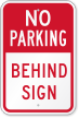 No Parking Behind Sign