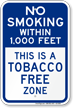 No Smoking Within 1000 Feet Tobacco Free Sign