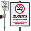No Smoking Within 15 Feet Of Building Sign
