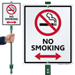 No Smoking Lawnboss Sign with Bidirectional Arrow