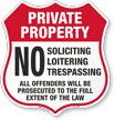 No Soliciting Loitering Trespassing Shield Sign