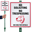 No Soliciting No Trespassing Dog Warning LawnBoss Sign
