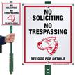 No Soliciting No Trespassing Dog Warning LawnBoss Sign