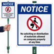 No Soliciting Or Distribution Allowed Lawnboss Sign