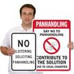 No Soliciting Panhandling No Loitering Sign