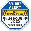 No Trespassing 24 Hour Video Surveillance Security Sign