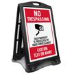 No Trespassing Add Text or Name Custom Sidewalk Sign