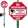 No Trespassing Beware Of Dogs LawnBoss Sign