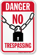 No Trespassing danger Sign With Lock Graphic