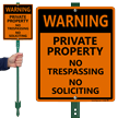 No Trespassing No Soliciting Sign