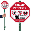 No Trespassing Soliciting Loitering LawnBoss Sign