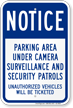 Parking Area Under Camera Surveillance Security Sign