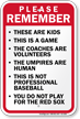 Please Remember Baseball Rules Sign