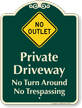 Private Driveway, No Trespassing Signature Sign