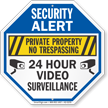 Private Property 24 Hour Video Surveillance Security Sign