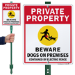 Private Property Beware Dogs On Premises LawnBoss Sign