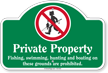 Private Property Fishing Swimming Prohibited Dome Top Sign
