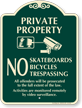 Private Property No Skateboards Signature Sign