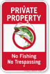 Private Property No Tresspassing No Fishing Sign