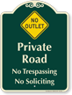 Private Road, No Outlet Symbol Signature Sign