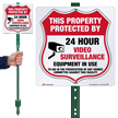 Property Protected By 24 Hour Surveillance LawnBoss Sign