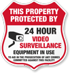 Property Protected By 24 Hour Surveillance Shield Sign