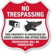 Property Protected By Video Camera And Dog Shield Sign