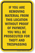 Removing Material Without Poof Will Be Prosecuted Sign