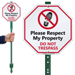 Respect My Property Do Not Trespass LawnBoss Sign