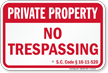 South Carolina Private Property Sign