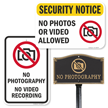 Security Notice No Photos Or Video Recording Allowed Sign