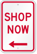 Shop Now With Left Arrow Sign