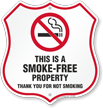 This Is A Smoke Free Property No Smoking Shield Sign