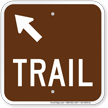 Trail Up Arrow Pointing Left Campground Sign