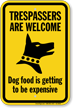 Trespassers Are Welcome Beware Of Dog Sign