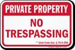 Utah Private Property Sign