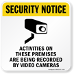 Activities Recorded Video Cameras Sign
