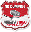 Video Surveillance No Dumping Shield Sign