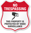 Video Surveillance No Trespassing Shield Sign