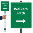 Walker's Path with Right Arrow LawnBoss Sign