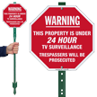 Warning 24 Hour TV Surveillance LawnBoss Sign