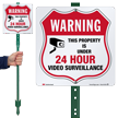 Warning 24 Hour Video Surveillance LawnBoss Sign