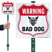 Warning Bad Dog LawnBoss Sign