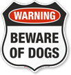 Warning Beware Of Dogs Shield Sign