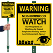 Warning Neighbors Are Watching LawnBoss Sign