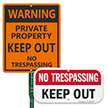 Warning Private Property Keep Out No Trespassing Sign