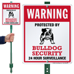Warning Protected By Bulldog Security LawnBoss Sign